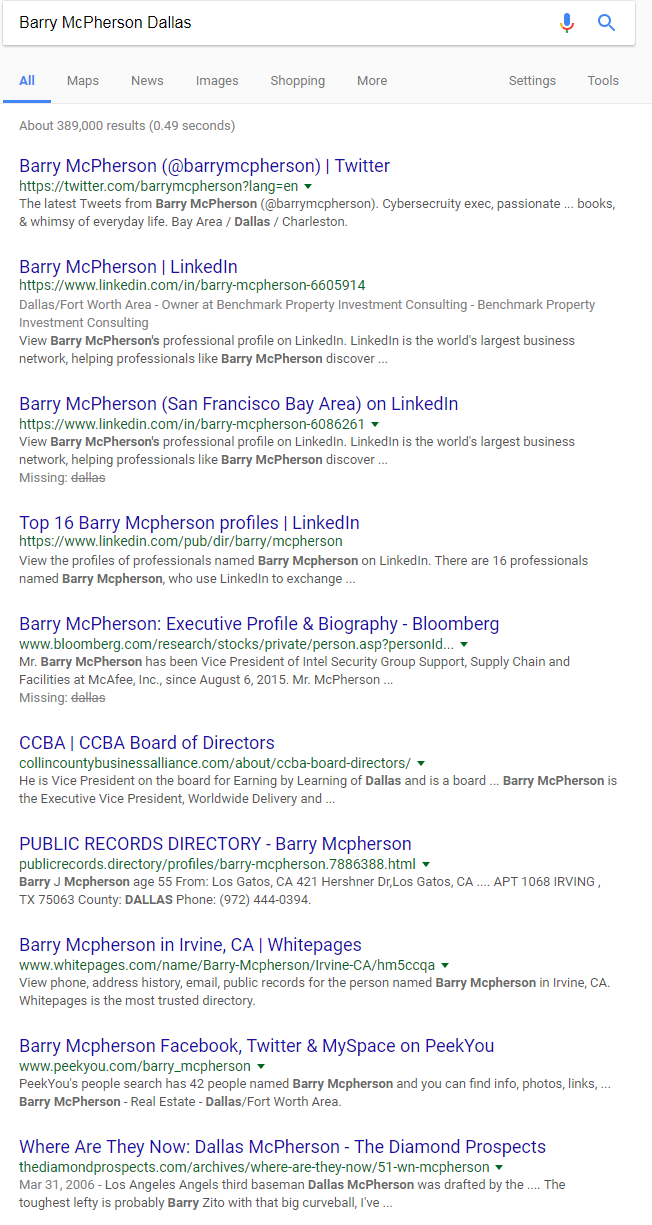 Barry McPherson SERP Result - Jan 2018