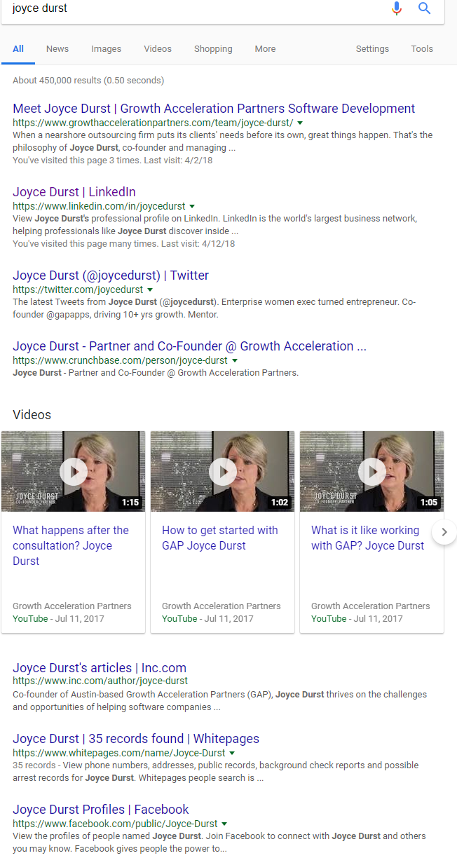 Joyce Durst SERP result July 2018